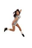 красивейшая динамически скача одичалая женщина зимы Стоковое Изображение