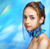 красивейшая девушка бабочки Стоковое Изображение RF