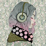 Красивейшая девушка с наушниками иллюстрация штока