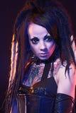 Красивейшая девушка демона с подбитыми глазами Стоковое Изображение RF