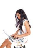 красивейшая деятельность женщины компьтер-книжки Стоковое Фото