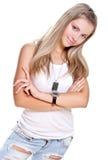 красивейшая женщина бирки джинсыов собаки Стоковое Изображение