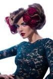 красивейшая женщина волос цветка стоковое фото rf