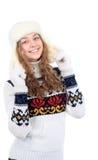 Красивейшая женщина в теплой одежде на белой предпосылке Стоковое фото RF