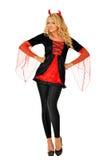 Красивейшая женщина в costume масленицы дьявола. Стоковая Фотография RF