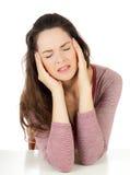 красивейшая женщина головной боли стоковые фотографии rf