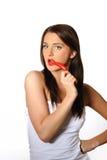 красивейшая женщина горячего перца чилей красная сексуальная Стоковые Фото
