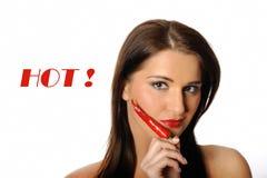 красивейшая женщина горячего перца чилей красная сексуальная Стоковая Фотография RF