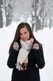 красивейшая женщина зимы портрета Стоковая Фотография RF