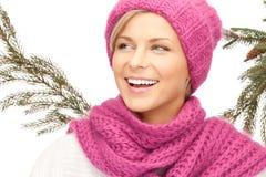 красивейшая женщина зимы шлема Стоковое фото RF