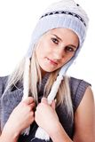 красивейшая женщина зимы шлема стоковая фотография rf