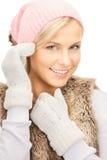 красивейшая женщина зимы шлема Стоковая Фотография