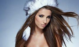 Красивейшая женщина зимы Стоковое Изображение RF