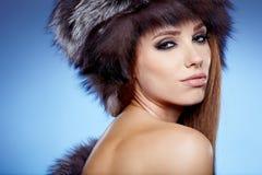 красивейшая женщина зимы Стоковые Изображения RF