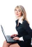 красивейшая женщина компьтер-книжки дела Стоковая Фотография RF