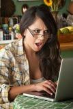 красивейшая женщина компьютера сотрястенная latina Стоковое Изображение