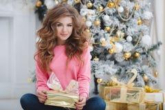 красивейшая женщина космоса подарка экземпляра рождества Стоковые Изображения RF