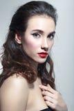 красивейшая женщина красного цвета губной помады Стоковое Изображение RF