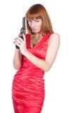 красивейшая женщина красного цвета пушки платья Стоковая Фотография RF