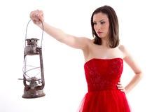 красивейшая женщина красного цвета платья Стоковые Изображения RF