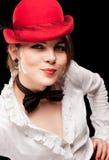 красивейшая женщина красного цвета шлема Стоковая Фотография