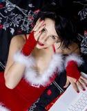 красивейшая женщина красного цвета costume стоковое изображение rf