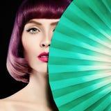 красивейшая женщина Красочные волосы расцветки, состав Стоковые Изображения