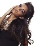 красивейшая женщина курчавых волос длинняя Стоковое фото RF