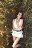 Красивейшая женщина лежа на поле цветка Стоковое Изображение RF