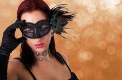красивейшая женщина маски масленицы Стоковые Изображения RF