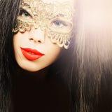 красивейшая женщина маски масленицы Стоковое Фото