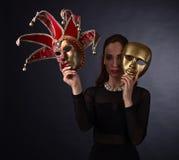 красивейшая женщина маски масленицы Стоковые Фотографии RF