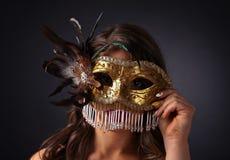 красивейшая женщина маски масленицы Стоковое Изображение RF