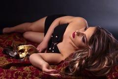 красивейшая женщина маски масленицы Стоковые Фото