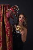 красивейшая женщина маски масленицы Стоковая Фотография RF