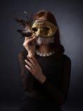 красивейшая женщина маски масленицы Стоковое Изображение
