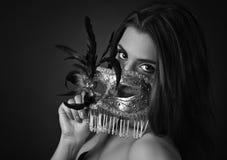 красивейшая женщина маски масленицы Стоковая Фотография