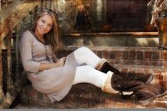 красивейшая женщина модели падения стоковые фотографии rf