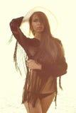 Красивейшая женщина на море Стоковые Фотографии RF