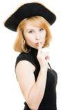 красивейшая женщина пирата черной шляпы Стоковое Изображение
