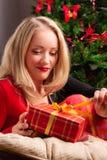 красивейшая женщина подарка рождества Стоковые Фотографии RF