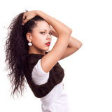 красивейшая женщина портрета курчавых волос длинняя стоковая фотография rf