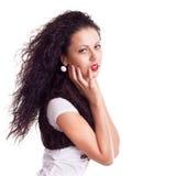 красивейшая женщина портрета курчавых волос длинняя стоковые фотографии rf