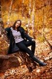красивейшая женщина портрета падения Стоковое Изображение RF