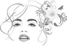 красивейшая женщина портрета стиля причёсок способа иллюстрация вектора