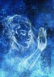 красивейшая женщина портрета Чертеж карандаша на старой бумаге Влияние цвета Стоковое Изображение RF