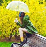 Красивейшая женщина под зонтиком Стоковое Фото
