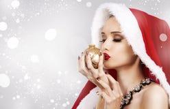Красивейшая женщина рождества Стоковое фото RF