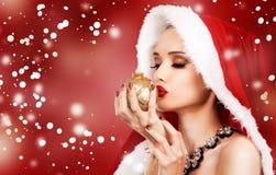 Красивейшая женщина рождества Стоковая Фотография