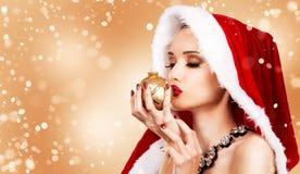 Красивейшая женщина рождества Стоковые Изображения RF